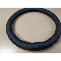 Оплетка на рулевое колесо, Автолидер, М(37-39см), (черная+черная перфорация,волна,экокожа), красн.упаковка