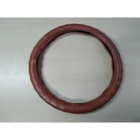Оплетка на рулевое колесо, Автолидер, М(37-39см), (Рыжий,экокожа,волна), красн.упаковка