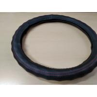 Оплетка на рулевое колесо, Автолидер, М(37-39см), (черная,красная отстрочка,волна,экокожа), красн.упаковка