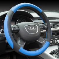 Оплетка на рулевое колесо, Автолидер, М(37-39см), (Черно-синяя,экокожа), красн.упаковка