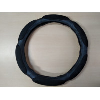 Оплетка на рулевое колесо, Автолидер, М(37-39см), (6 подушек спонж,черный,экокожа), красн.упаковка