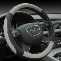 Оплетка на рулевое колесо, Автолидер, М(37-39см), (Черно-серая,экокожа), красн.упаковка