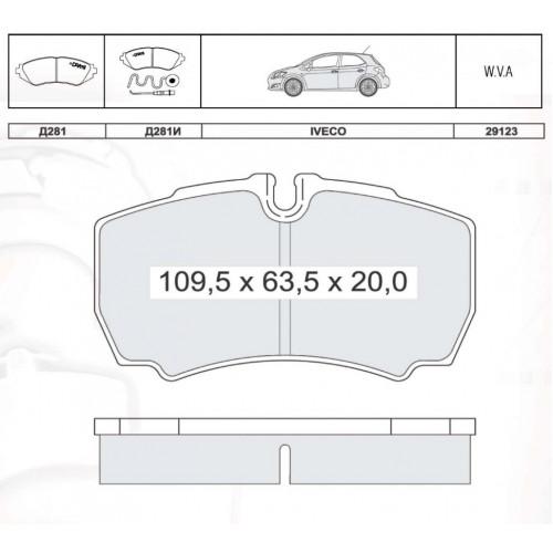 Колодки тормозные дисковые INTELLI D281E IVECO Dayli II 35 S 99-/III 06- ; FORD TRANSIT с 08