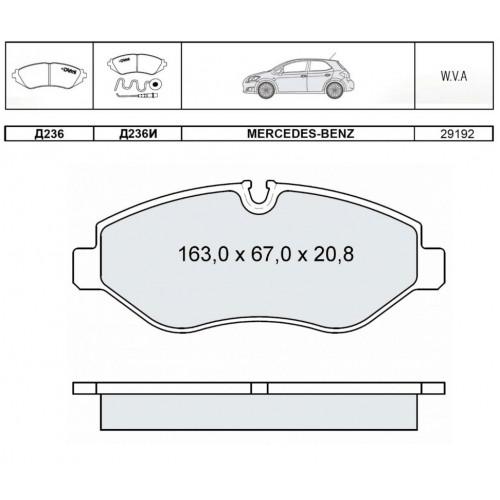 Колодки тормозные дисковые INTELLI D236EI с дат.износа M-B Viano/Vito/Sprinter 06-/VW Crafter 06